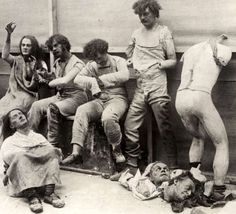 1930 - Melted and damaged mannequins after a fire in the Madame Tussaud Wax Museum in London.