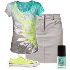 LOVE the skirt ......and the shirt haha I love everything not so much the yellow converse butbthey go with the outfit!