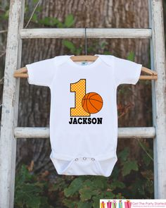 First Birthday Basketball Outfit - Personalized Bodysuit For Boy's 1st Birthday Party - Basketball Bodysuit Birthday Outfit With Name & Age