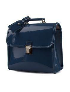 Blue patent leather schoolbag