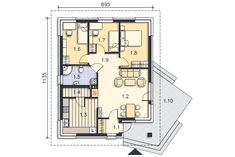 Rzut kondygnacji Parter - projekt Lucca II Lucca, Tiny House, House Plans, Floor Plans, How To Plan, Bedroom, Interior, Design, Case