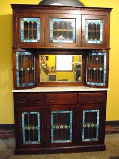 Antique Stained Glass Oak Back Bar Cabinet Hutch | eBay