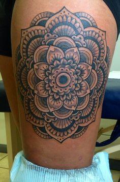 a93e68ab74f68 Hero Tattoo, Thigh Piece, Weird Tattoos, Thigh Tattoos, Tattoo Project,  Mandala