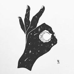 A-okay. #illustration #illustrator #design #sketch #drawing #ink #pen #linework #dotwork #tattoo #tattoodesign #moon #hand #okay #art #artwork #artist #artistic #instaart #minimal #stars #sky #blackwork #blackworkers #abstract #crescentmoon #evasvartur #instafollow
