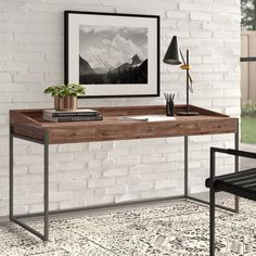 Modern Furniture and Decor for your Home and Office Solid Wood Desk, Solid Wood Furniture, Repurposed Furniture, Contemporary Desk, Modern Desk, All Modern, Wood Computer Desk, Wood Writing Desk, Cabinets For Sale