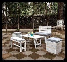 Salas de madera wash blancas muy al estilo campirano chic vintage, ideales para todo tipo de evento... Mon By W!!