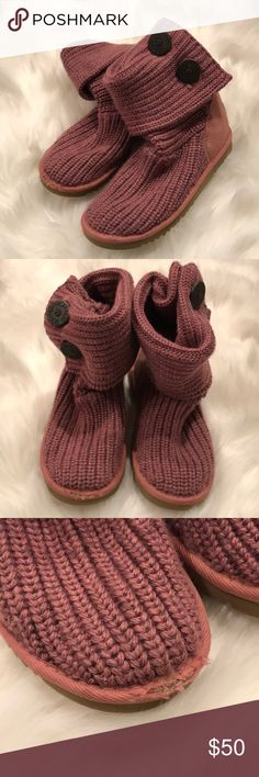 Blush Knitted Ugg Boots Very cute Ugg boots gently worn (pretty clean bottoms) but with a scuff on the right toe. Blush in color. Says size 4 but I wear a regular 8 and I can get my foot in these though it's super tight. Should fit a regular size 6.5-7.  Knitted top can either be tall or short, as shown UGG Shoes Winter & Rain Boots