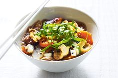 White miso soup with soba noodles