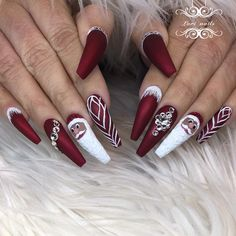 Top 40 popular ideas of christmas nails designs to try in 2019 11 Aycrlic Nails, Dope Nails, Bling Nails, Coffin Nails, Fun Nails, Stiletto Nails, Manicures, How To Do Nails, Hair And Nails