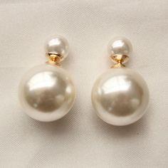 Double Faux Pearl Bead Plug Earrings Ear Studs 14MM X 9MM #Stud