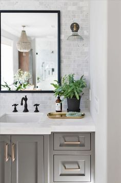 clé carrara stone marble subway tiles elevates the backsplash - Bathroom Ideas White Subway Tile Bathroom, Marble Subway Tiles, Modern Bathroom, Small Bathroom, White Bathroom Decor, White Bathrooms, Bathroom Trends, Carrara Marble, Gray And White Bathroom Ideas