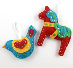 Dala Horse Hand Sewing Pattern Felt Xmas from lovahandmade | Check out patterns on Craftsy!