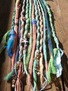 10 SE Sparkly Mermaid Wool Dreads Dreadlock Extensions Mermaid Hair Extensions | eBay