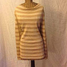 Jones New York Gold Sweater. Jones New York Gold Metallic Knit Top Draped Neckline Tunic. Jones New York Sweaters