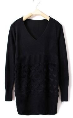 Black Long Sleeve Heart Embroidery Bib Sweater