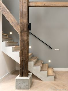 Pin by Leda Steegen on Home Exterior Design, Interior And Exterior, Barn Kitchen, House Stairs, Farmhouse Interior, Staircase Design, House Goals, Next At Home, Home Deco