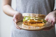 Crispy fish sandwich with lemony dill mayo