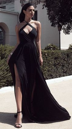 Black Halter Front Split Open Back Stretch Satin Prom Dresses 2017