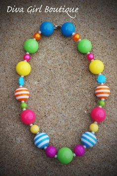 Chunky Necklace Bubble Gum Beads Girls by divagirlboutique on Etsy, $21.50