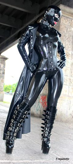 Angels in Tight Latex Catsuits and High Heels