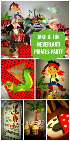 What a fun Jake and the Neverland Pirates boy birthday party with awesome decorations!  See more party ideas at CatchMyParty.com!