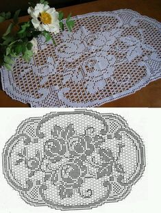 Roses Au Crochet, Crochet Lace Edging, Crochet Doily Patterns, Thread Crochet, Crochet Doilies, Crochet Flowers, Crochet Stitches, Crochet Ideas, Knitting Patterns