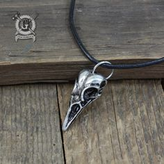 Crow Skull Pendant Necklace - Hand Cast Artifact Replica Pendant -  Handmade Pewter Jewelry Creations Doctorgus - Boho Tribal Goth Alt Style by doctorgus on Etsy