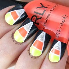 Happy #ManiMonday! We're starting the week off by getting into the #Halloween spirit  #CandyCorn mani by @gamengloss featuring #KeyLimeTwist and #PushTheLimit. #regram