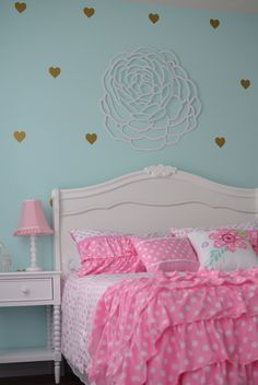 Little girl's room. Mint / aqua, pink, gold and white.