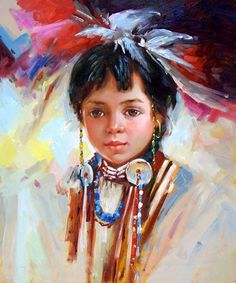 ... Little Native American Girl Child - More Art, oil paintings on canvas