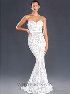 White Lexington Gown. An elegant floor length gown by Jadore. A strapless style featuring a sweetheart neckline, sequin detailing with satin waistband and floor sweeping train..