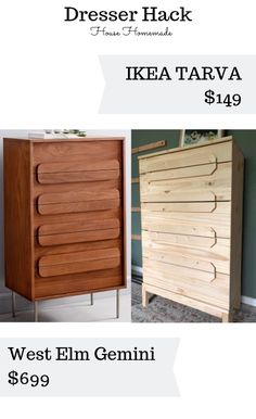 House Homemade: IKEA Dresser hack: could do my wardrobe with new strip wood handles over the cut out hole Ikea Dresser Hack, 5 Drawer Dresser, Dresser Pulls, Drawer Handles, Drawer Fronts, Making A Router Table, West Elm Dresser, Home Bedroom, Bedroom Ideas