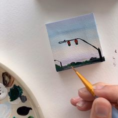 Tiny Suburban Street is now for sale, link in bio ❤️ - - Edi Small Canvas Paintings, Small Canvas Art, Easy Canvas Painting, Mini Canvas Art, Small Paintings, Aesthetic Painting, Aesthetic Art, Colorful Drawings, Art Drawings