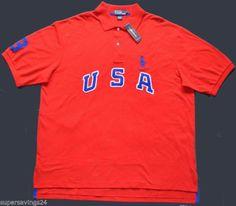 New 2XLT 2XL TALL POLO RALPH LAUREN Mens big pony USA shirt red short sleeve 2XT