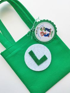 Set of 12 Luigi Bros Favor Bags with Personalized by SalomeCrafts