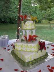bc iced wedding cake with flowers from florist