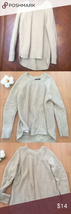 Oversized Cotton knit sweater Cozy cozy knit longline sweater well loved but still has so much life. Pretty beige tan color and 28% Cotton. Size XL but can be worn as an oversized sweater over leggings. No damage, stains or marks whatsoever. Priced low because it has fuz from the wash. => I'm pretty sure I can get almost all of it off before shipping since it's Cotton and it should look great. ❤️ Sweaters