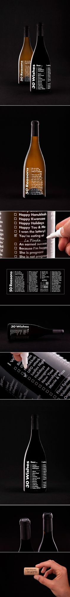 So I def might make one of these labels just to put on wine bottles I give to my friends and family . . of course if I knew where to get this I would be lazy enough to buy it!  -Neleman :: 30 Wishes and 50 Reasons wines #packaging #creative