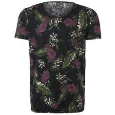 T-Shirt mit Print - Lässiges schwarzes T-Shirt von Tom Tailor Denim. Mit coolem Allover-Blumenprint und angenehmer Textur macht dieses Shirt einiges her. - ab 19,90€