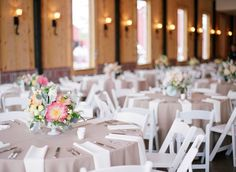 Heart the natural brown tablecloths coupled with the white napkins/chairs and bright florals! Beige Wedding, Rustic Wedding, Wedding Reception, Wedding Dress, Decoration Table, Reception Decorations, Reception Table Layout, Wedding Table Linens, Centerpieces