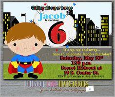 Super Hero Birthday Invitations Boy: Product Number 141 - Super Hero nvitations - 12 Printed invitations on Etsy, $18.00