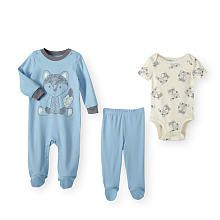 Koala Baby Boys 3 Piece Blue/White Wild Fox Layette Set with Coverall, Short Sleeve Bodysuit and Footed Pants
