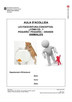 Generalitat de Catalunya Departament d'Ensenyament Institut Carles Vallbona Granollers AULA D'ACOLLIDA LECTOESCRITURA-CONC...
