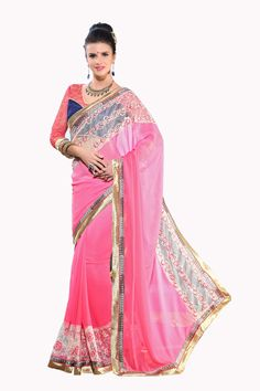 http://www.thatsend.com/shopping/lp/fvp/TESG210900/i/TE274500/iu/pink-georgette-casual-saree  Pink Georgette Casual Saree Apparel Pattern Plain. Work Embroidery, Border Lace. Blouse Piece Yes. Embroidery Method Machine. Occasion Diwali, Festive.