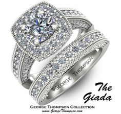 Beautiful, elegant vintage flair wedding ring and band with unique encrusted detail and halo setting.