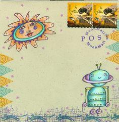 Sun & Robot envelope by Debra Valoff / Rubbermoon stamps
