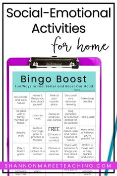 Support students' emotional well-being during distance learning with these fun and easy social-emotional activities for home. Social Work Activities, Stress Management Activities, Social Emotional Activities, Emotions Activities, Counseling Activities, Learning Activities, Time Activities, Leadership Activities, School Counseling