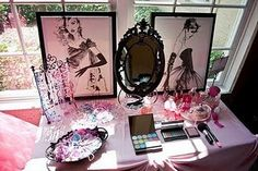 make up station.... so cute for a little girl's makeover/barbie/princess/etc party!