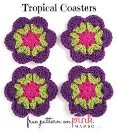 Crochet Tropical Coasters. ~❀CQ #crochet #crochetflowers   http://www.pinterest.com/CoronaQueen/crochet-leaves-and-flowers-corona/
