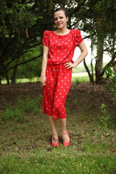 Red White and Vintage Patriotic Star Dress